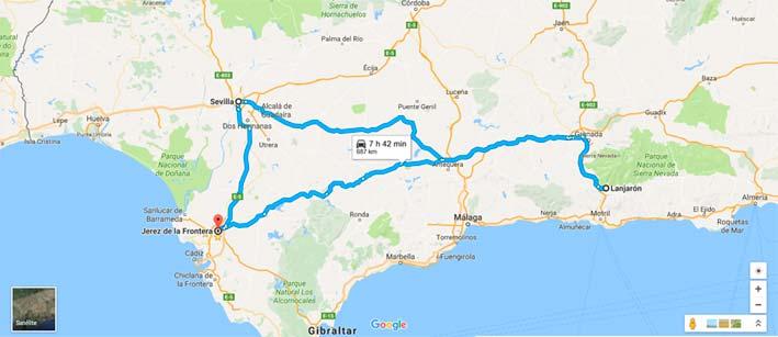 De Lanjarón a la Calahorra y Sevilla.